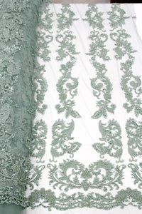 Mint Green Bridal Beaded Lace - 5 Yards