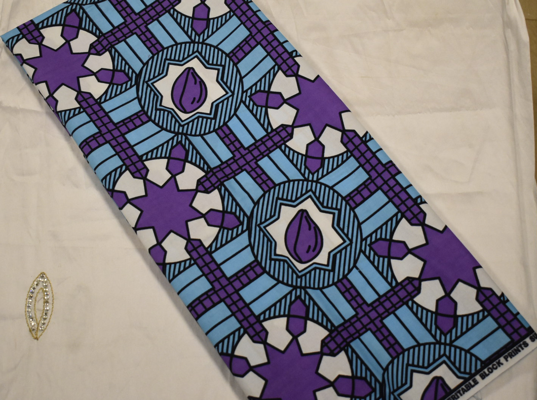 100% Cotton Block Print Ankara - 1 Yard