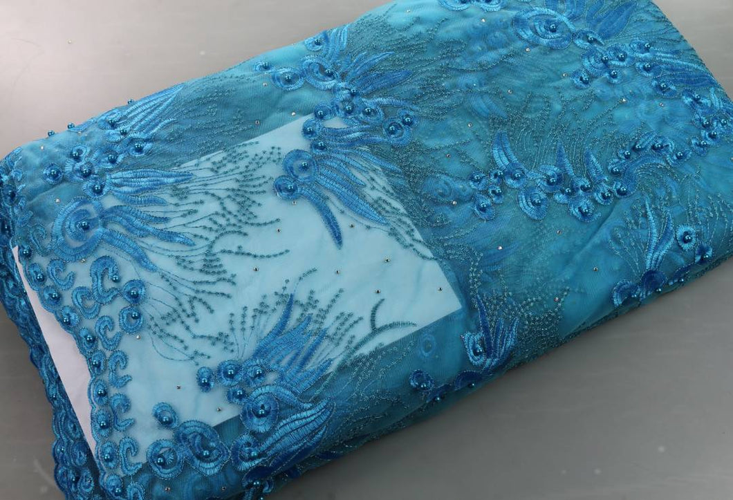 Turquoise Blue French Lace - 5 Yards