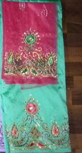 *Exclusive* Mint Green and Fuchsia Pink George with Blouse Fabric