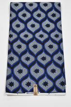 Load image into Gallery viewer, Royal Blue and White/Black Ankara Print - 6 Yards