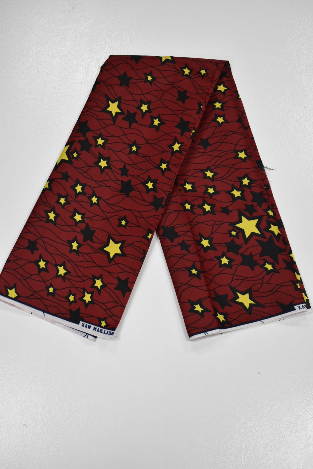 Wine and Yellow Stars Ankara Print - 1 Yard