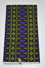 Load image into Gallery viewer, Purple and Yellow Block Print Ankara - 6 Yards
