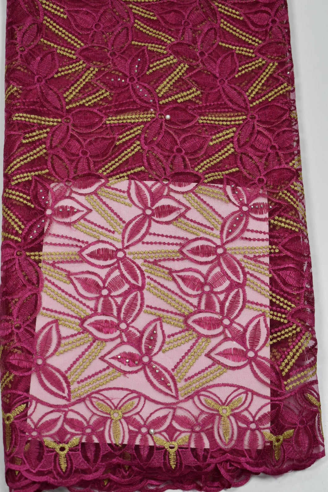 Fuchsia Pink and Gold French Lace - 5 Yards