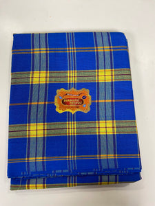 Royal Blue and Yellow Plain George - 8 Yards