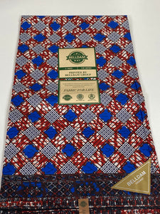 Blue and Wine Ankara Print - 6 Yards