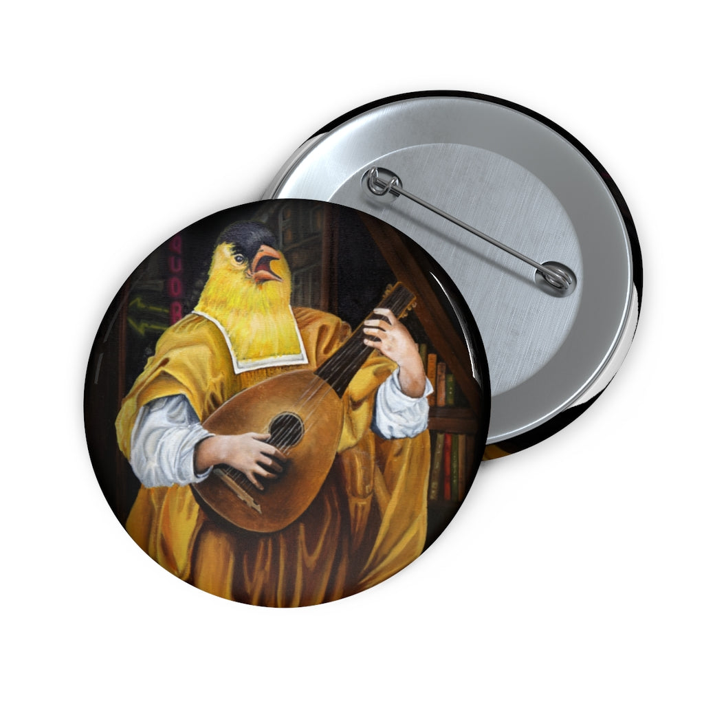 """Goldfinch with Lute"" Pin Buttons"