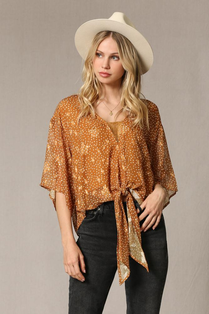 Maisie Burnout Satin and Lace Blouse