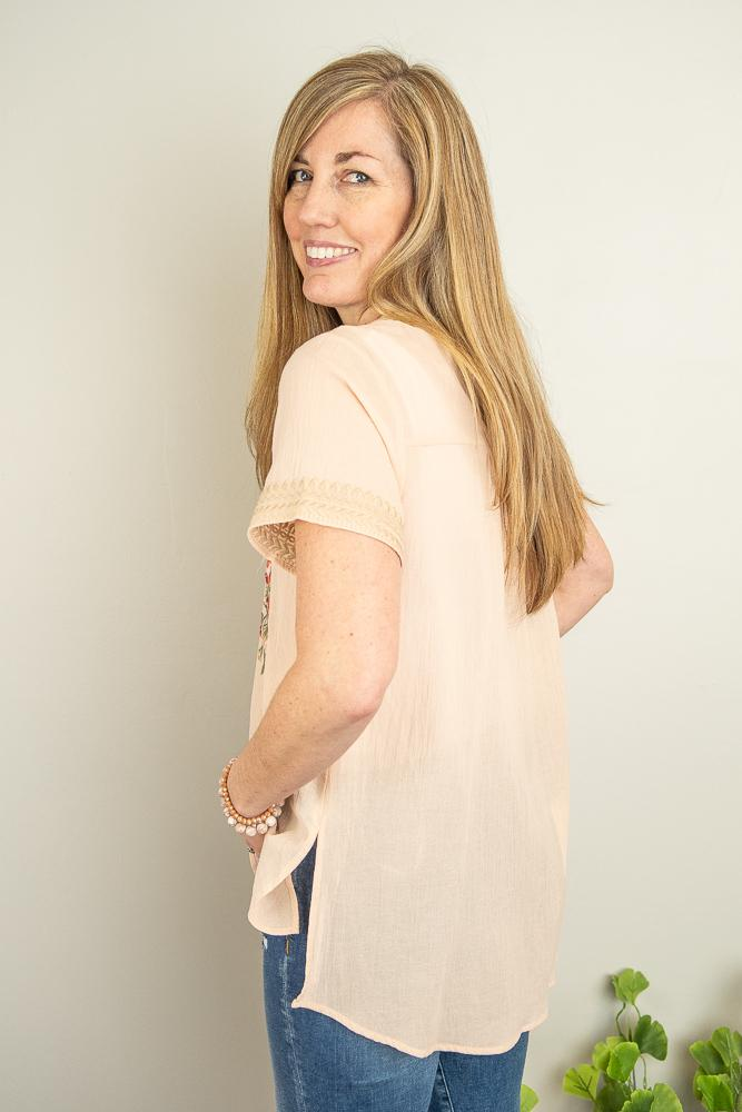 The Halie Embroidered Top in Peach - juniper & mae