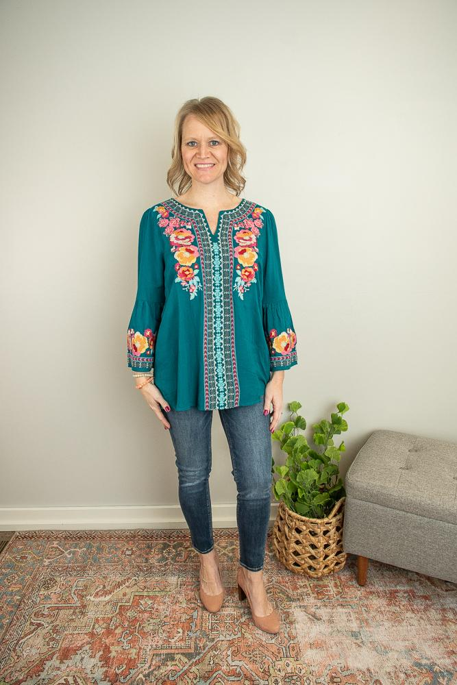 The Carlie Embroidered Bell Sleeve Top in Teal - juniper & mae