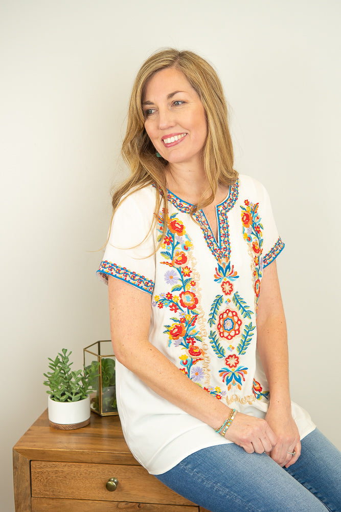 The Josie Embroidered Top in Ivory - juniper & mae
