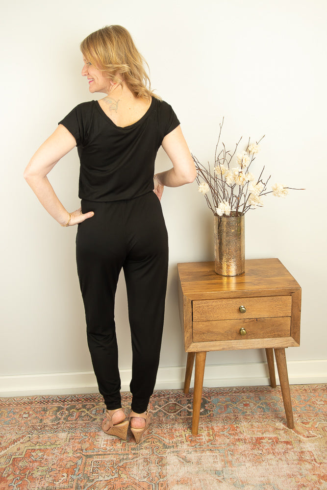 The Amie Tie Waist Jumpsuit in Black - juniper & mae