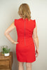 The Jessica Ruffle Sleeve Zipper Dress in Red - juniper & mae