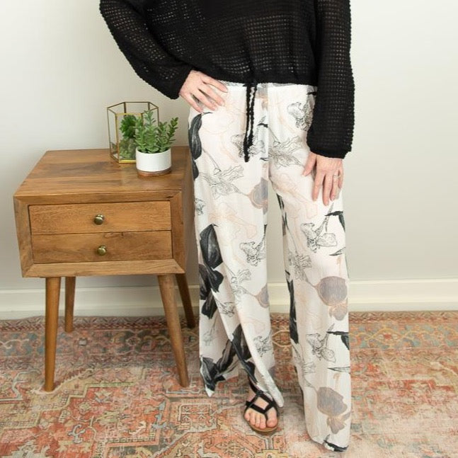 The Ambrose Side Slit Pant in Black Floral - juniper & mae