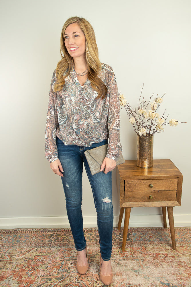 The Sallee Cross Front Blouse in Paisley - juniper & mae