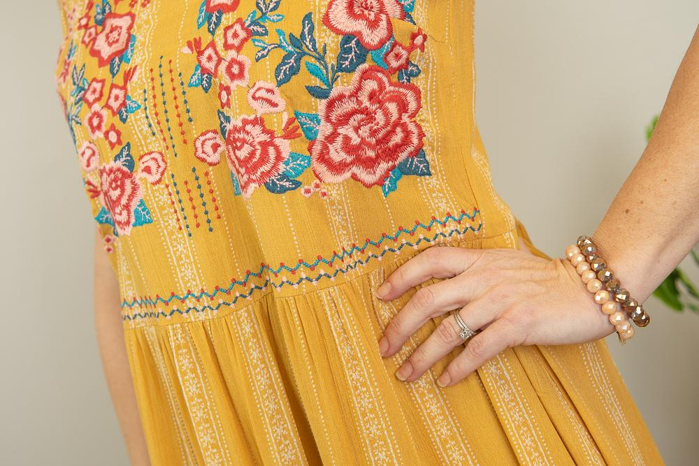 The Marigold Embroidered Dress in Yellow - juniper & mae