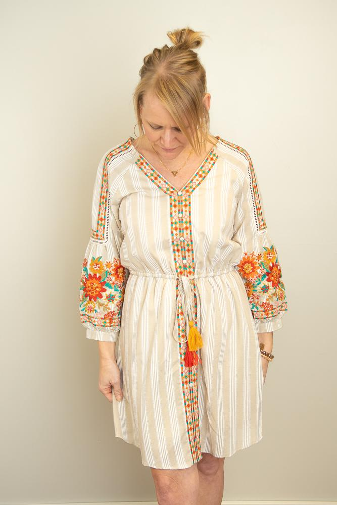 The Kim Stripe Embroidered Dress in Khaki - juniper & mae