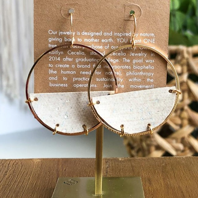 White Cork Half Moon Earrings - juniper & mae