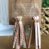 Rose Gold Leather Tassel Earrings - juniper & mae