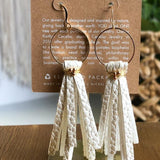 White Pearl Leather Tassel Earrings - juniper & mae
