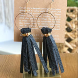Natural Black Leather Tassel Earrings - juniper & mae