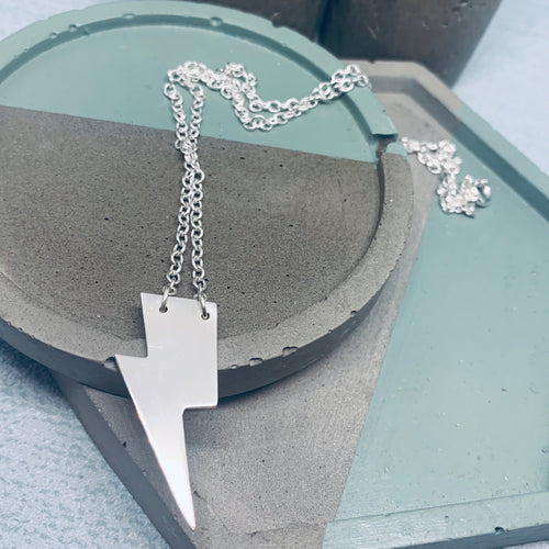 Silver lightning bolt harry potter style necklace