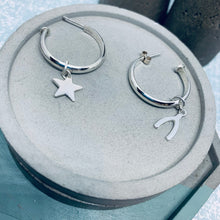 Load image into Gallery viewer, 20mm Sterling silver charm hoop earrings
