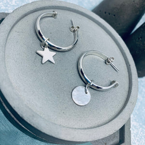 20mm Sterling silver charm hoop earrings