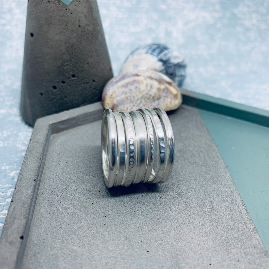 Multi layered sterling silver chunky statement stacking ring