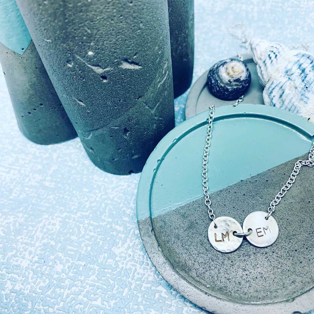 Personalised sterling silver double disc necklace