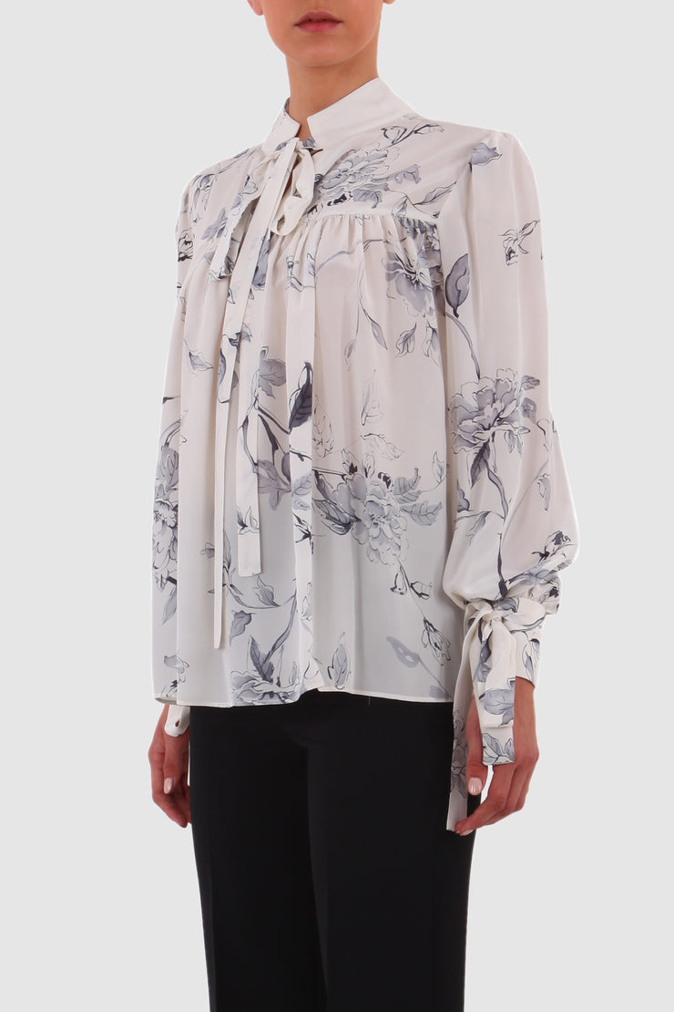 Floral printed silk crepe de chine pussy-bow blouse