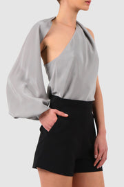 One-sleeve cut out silk blouse