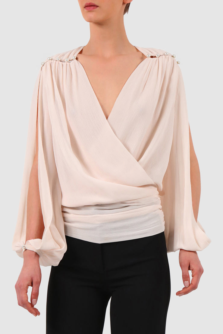 Plunged wrap effect chiffon blouse