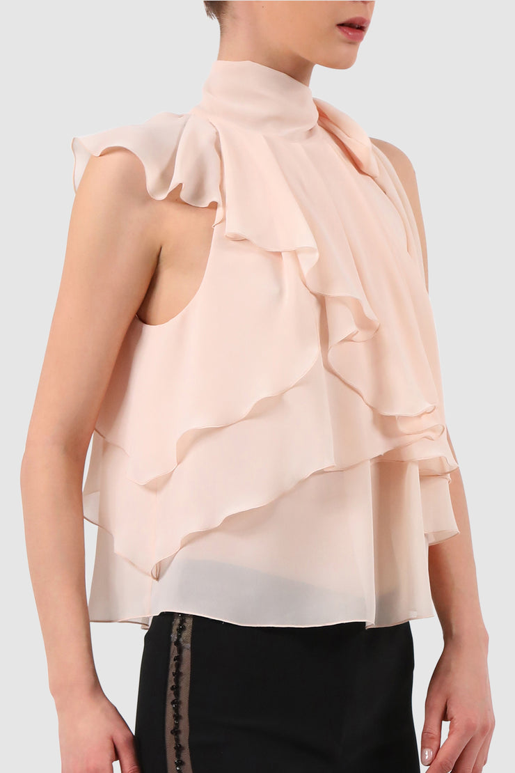 Draped multi-layer chiffon blouse