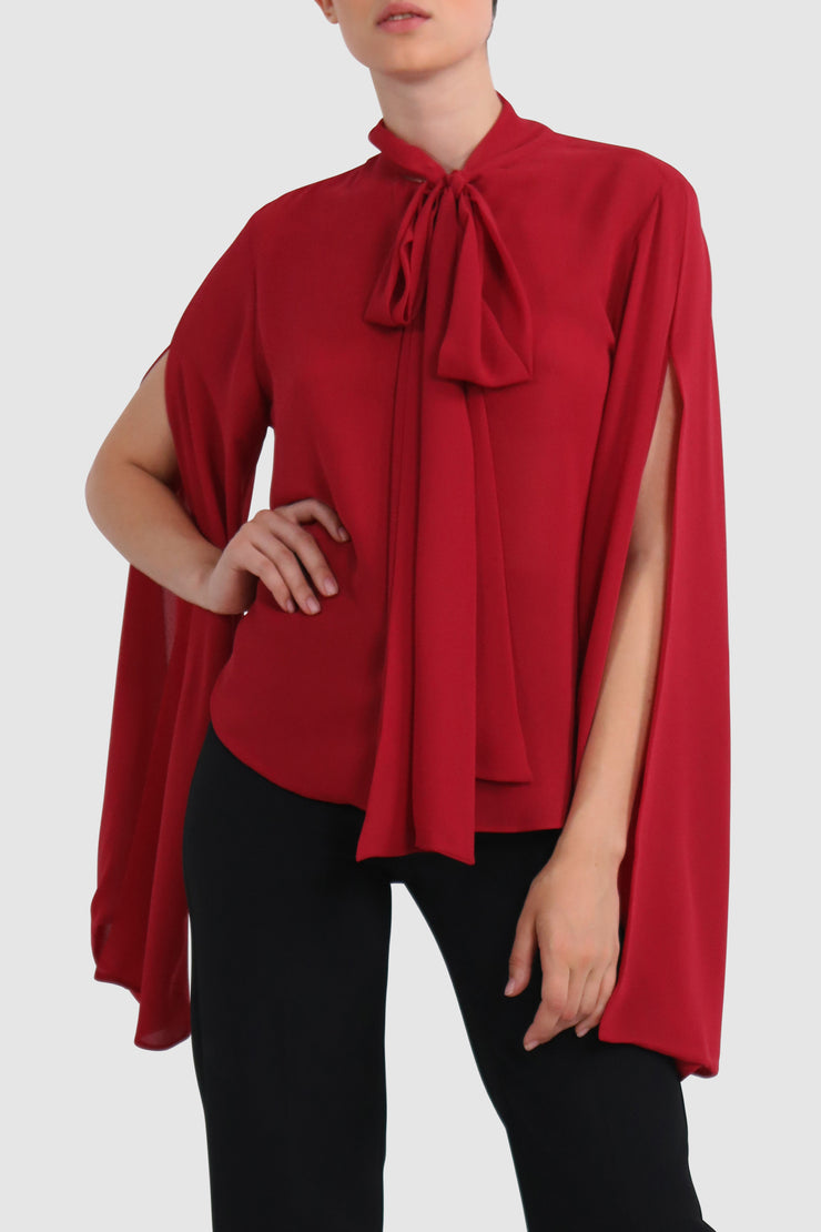 Cape-effect chiffon blouse
