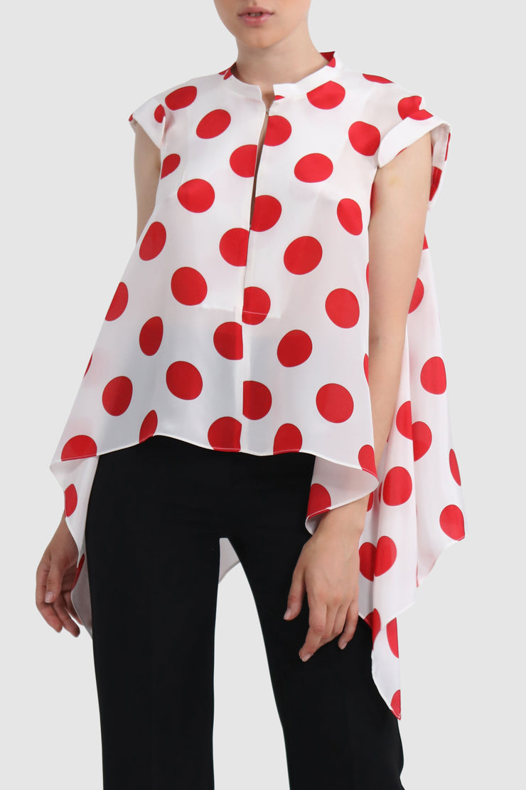 Polka-dot detachable back silk top