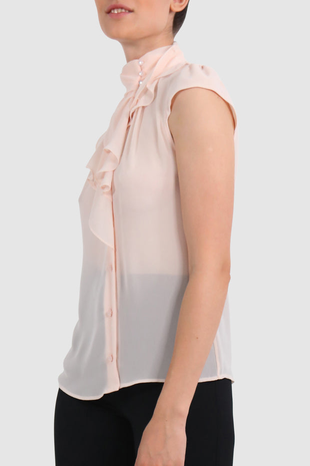 See-through draped chiffon top