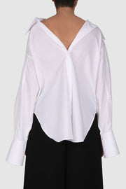 Double collar oversized cotton shirt