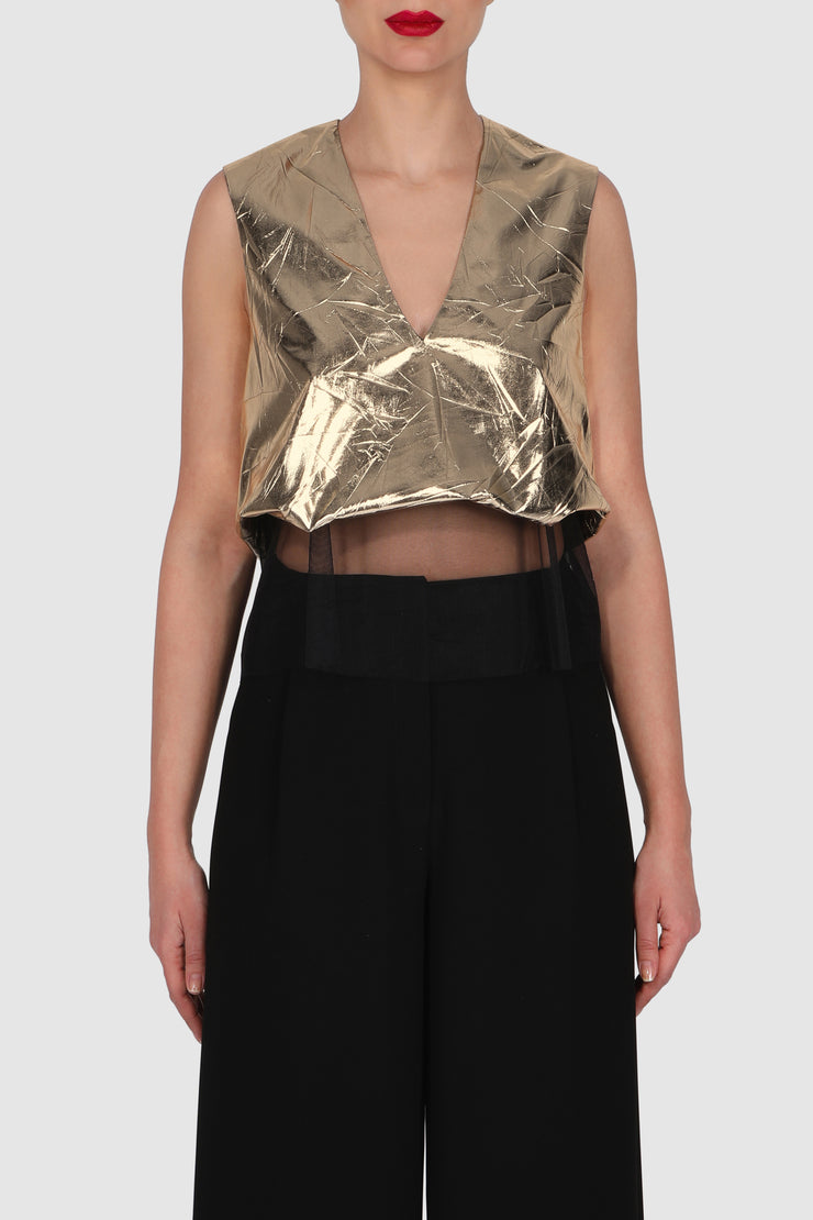 Metallic crinkled tulle embellished top