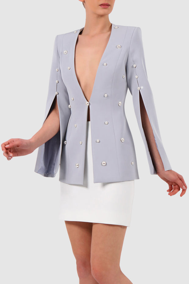 Plunged cape-effect crepe jacket