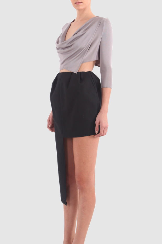 Puffy one-sided skirt