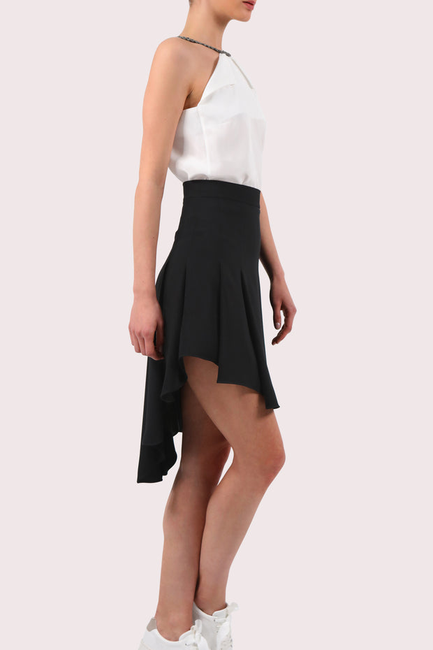 Asymmetric pleated crepe skirt