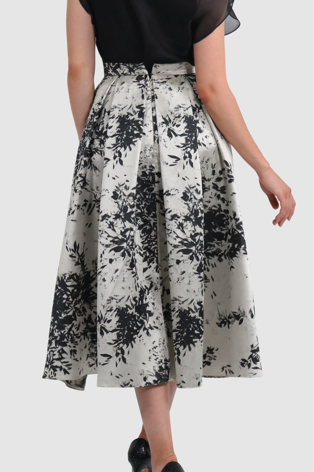 Printed brocard taffeta pleated maxi skirt