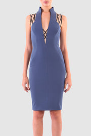 Plunged knotted stretch mini dress