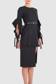 Asymmetric layered crepe dress