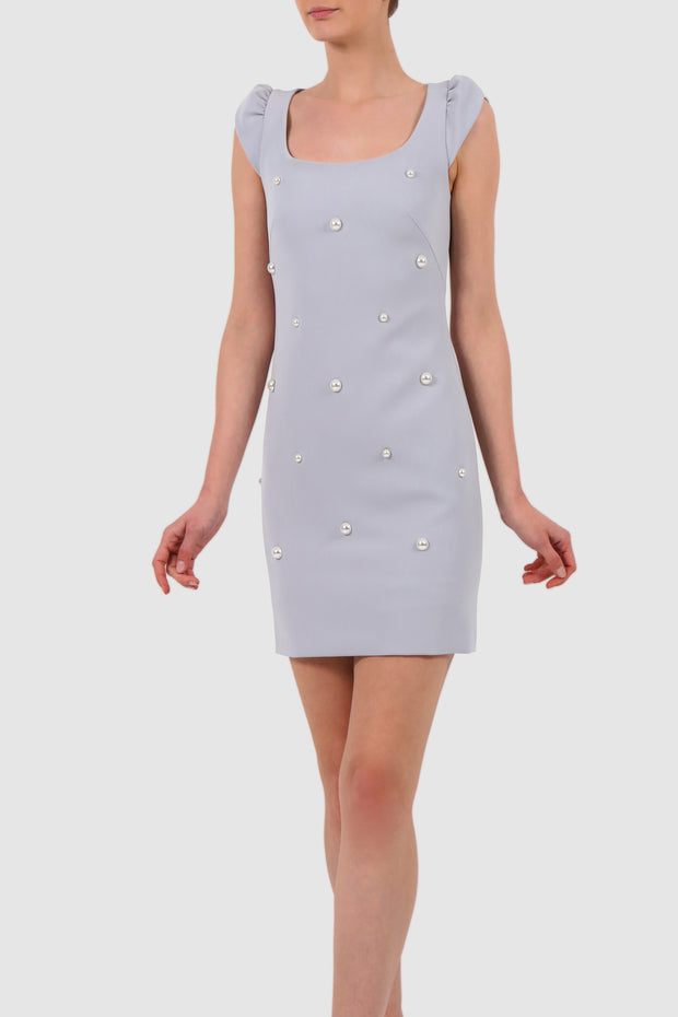 Faux pearl-embellished crepe mini dress