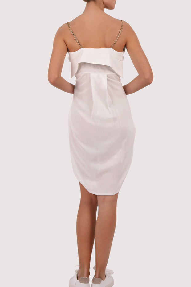 Cold-shoulder cotton short dress