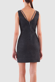 Chain embedded shiny tweed mini dress