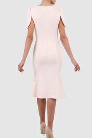 Cape-effect crepe midi dress