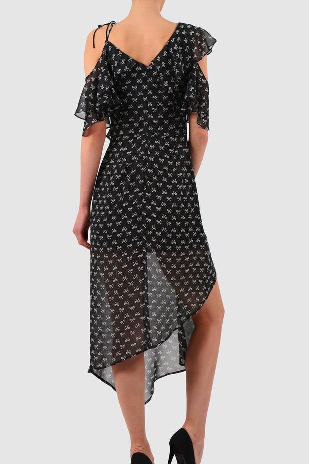Asymmetric ruffles printed chiffon midi dress